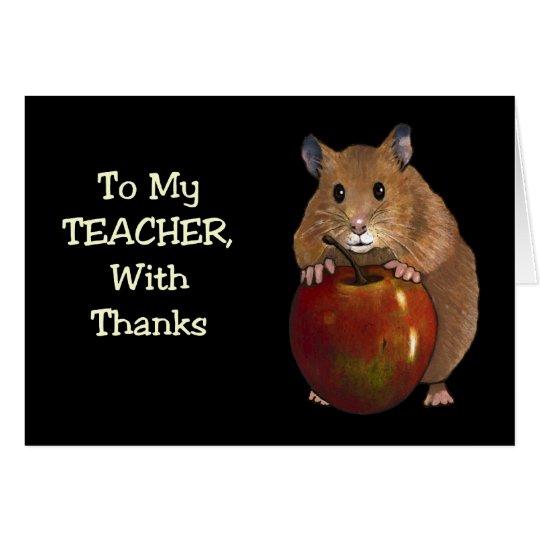 Dank des Lehrers: Hamster, Apple: Kunst auf Grußkarte