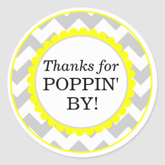Dank für Poppin vorbei, Zickzack Druck-Baby-Dusche Runder Aufkleber