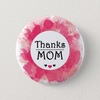 Dank MAMMA Aquarell-Rosa-Herz Runder Button 5,7 Cm
