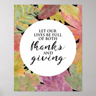 Dank und Geben - Blätter-Typografie - des Plakats Poster