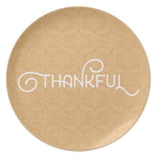 Dankbar • Niedliche Herbstdamastplatte Teller