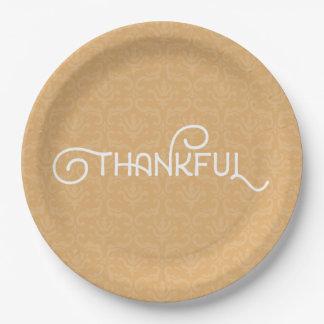 Dankbar • Niedlicher Herbstdamast-Teller Pappteller