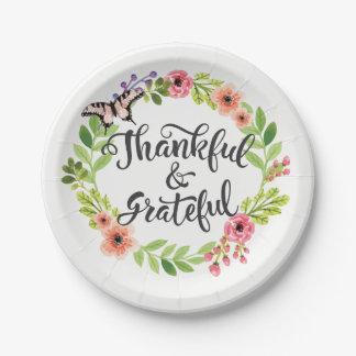 Dankbar und dankbar. Glückliche Danksagung Pappteller 17,8 Cm