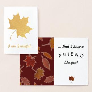 Dankbarer Freundschafts-Herbst verlässt Folienkarte