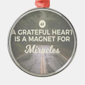 Dankbarer Herz-Wunder-Magnet Silbernes Ornament