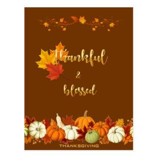 Dankbarer und gesegneter goldener Skript-Erntedank Postkarte