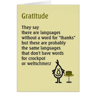 Dankbarkeit - ein schrulliges danken Ihnen Gedicht Grußkarte