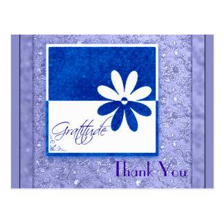 Dankbarkeits-blaue und weiße Blume Postkarte