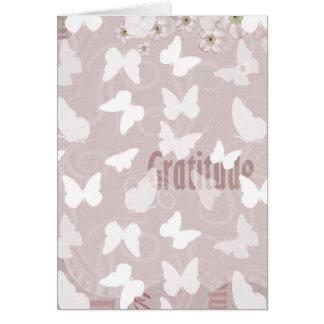 Dankbarkeits-rosa Schmetterlinge Grußkarte