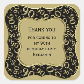Danke - 90. Geburtstags-Schwarzes und GoldParty Quadratischer Aufkleber