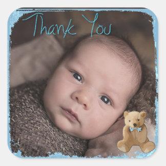 Danke Baby-Foto-Aufkleber Quadratischer Aufkleber