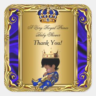 Danke Babyparty-königliches Gold Prinz-Königsblau Quadratischer Aufkleber