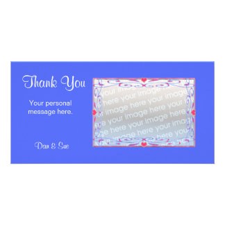 Danke blau fotogrußkarten