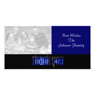 Danke blau individuelle fotokarte