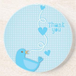 Danke blauer Vogel Getränke Untersetzer