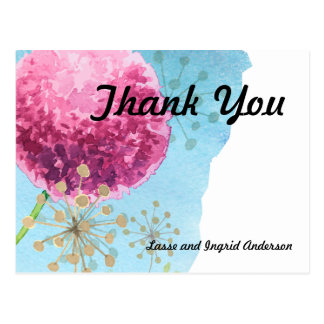 Danke Blumen Aquarell Lauch Postkarte