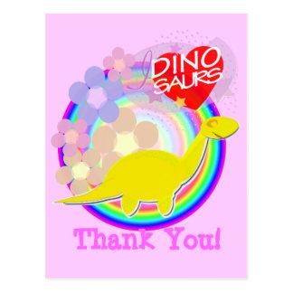 Danke Blumen-Dino-Cartoon-Postkarte Postkarte