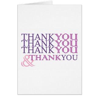 Danke danken Ihnen danken Ihnen, im lila Text zu Grußkarte
