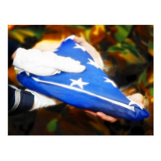 """""""Danke"""" der Soldat, der die amerikanische Flagge Postkarte"""