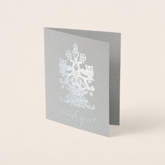 Danke edle graue silberne königliche Eulen Folienkarte