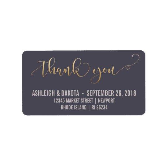 Danke | elegante Goldskript-Hochzeits-Fotokarte Adressaufkleber