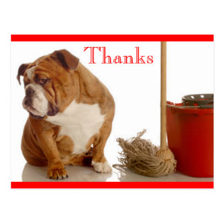 Danke englische Bulldoggen-Welpen-Gruß-Postkarte Postkarte
