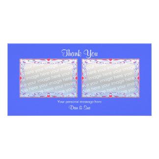 Danke Fotos des Blau-2 Photo Karten Vorlage