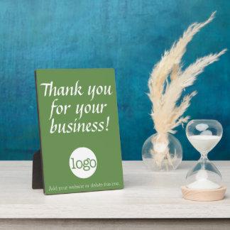 Danke für Ihr Geschäft mit Logo - Grün Fotoplatte