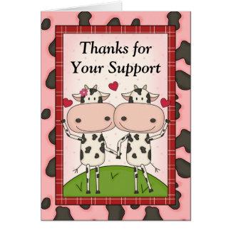 Danke für Ihre Unterstützung - Kühe Karte