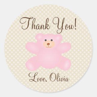 Danke für kommende Teddybär-Mädchen-Babyparty Runder Aufkleber