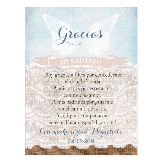 Danke Gebetskarte Auf Spanisch Jungentaufe Postkarte