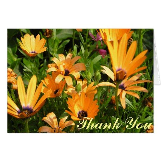 Danke, - gelbe Blumen zu kardieren Grußkarte