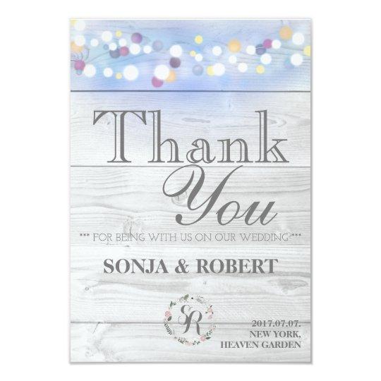 Danke Hochzeit - weißes Holz mit Pastelllichtern 8,9 X 12,7 Cm Einladungskarte