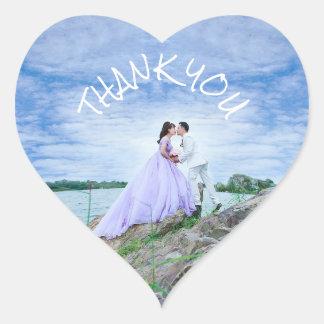 Danke Hochzeits-Aufkleber-Braut-und Bräutigam-Foto Herz-Aufkleber