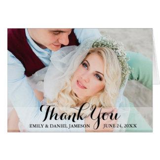 Danke Hochzeits-Foto-faltendes Karten-Skript Grußkarte