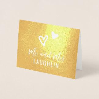 Danke Hochzeits-Karten WIRKLICHE GOLDfolie Herzen Folienkarte