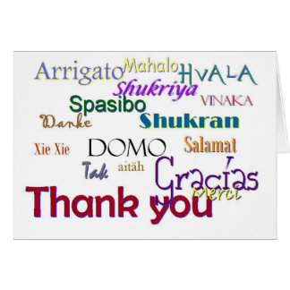 Danke, Hvala, Gracias, feuchtes Vielen, Spasibo Grußkarte