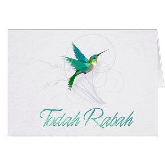Danke in hebräischem ~Todah Rabah ~ Kolibri Karte