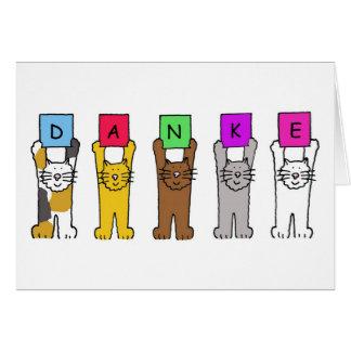 """Danke, Katzen-Sprichwort """"dankt"""" auf Deutsch Grußkarte"""