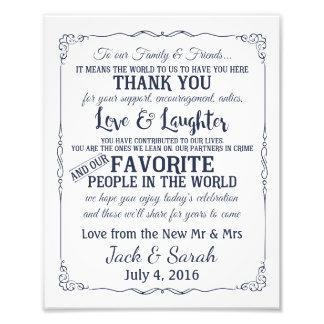 Danke kundengebundene Marine der Hochzeit Zeichen Fotodruck