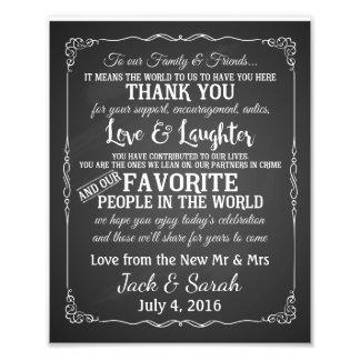 Danke kundengebundene Tafel der Hochzeit Zeichen Photo Druck