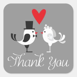 Danke Lovebirds-graue Hochzeits-Aufkleber Quadrat-Aufkleber