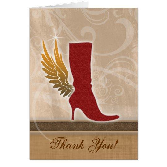 Danke, mit Spaß Engels-Flügel-Rot-Stiefel zu Grußkarte