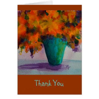Danke Notecard mit Blumen im Vase Grußkarte