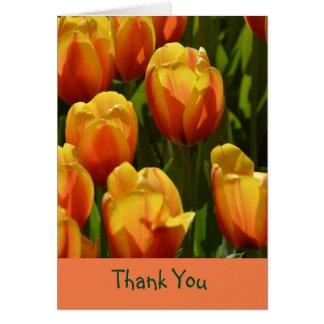 Danke Notecard mit orange Gelb-Tulpen Karte