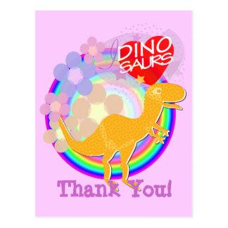 Danke orange Blumen-Dino-Cartoon-Postkarte Postkarte