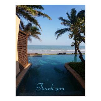Danke, Postkarte auf den Strand zu setzen