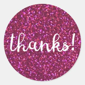 Danke! Rosa Glitteraufkleber des Imitats Runder Aufkleber