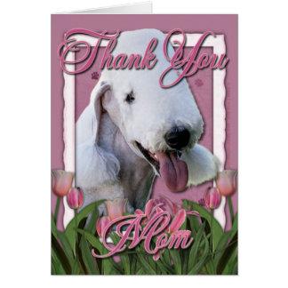 Danke - rosa Tulpen - Bedlington Terrier Karte
