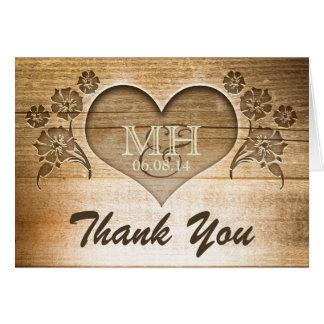 danke rustikale hölzerne Hochzeitskarten Mitteilungskarte